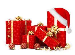 Christmas gifts in red and gold wrapping