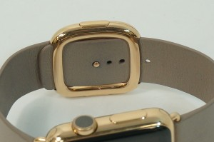Apple Watch 18-Karat Rose Gold buckle Case with Rose Gray Modern Buckle close up