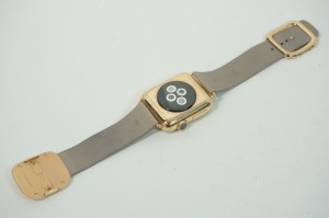 Apple Watch Edition 38mm 18-Karat Rose Gold Case with Rose Gray Modern Buckle rear view